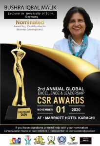 "Founder of Pakistan Women Writers Forum nominated for award for ""Contribution to Women Development"""